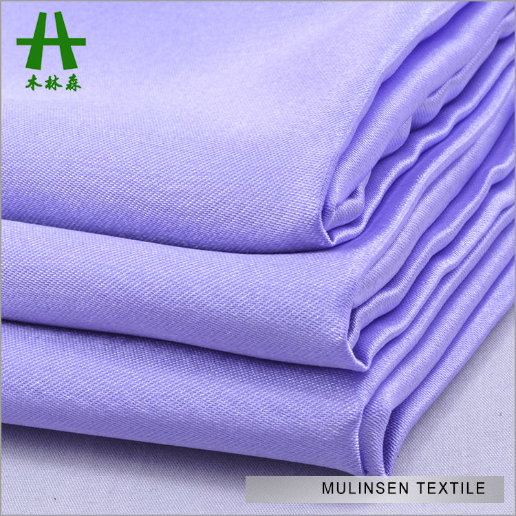 Mulinsen Textile Hot Sale Light Purple Dyed Satin Weaving Poly Mini Matt Fabric