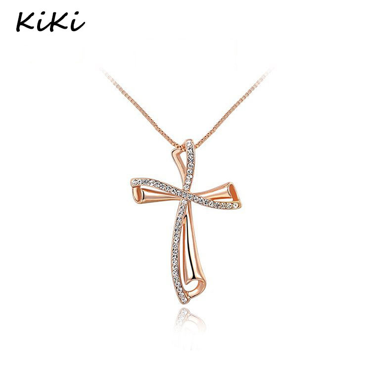>>>Fashion Luxury Czech Stone Necklace Gold Color Crystal Classic Cross Pendant Necklaces For Women Jewelry Wholesale