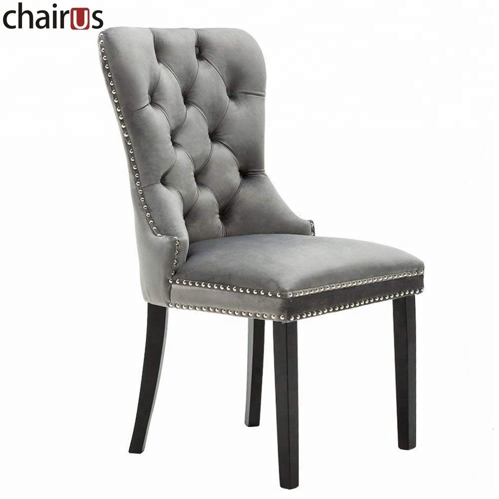 Velvet Chair Furniture Modern High Solid Wood Upholstered Design Table Dining Room Set
