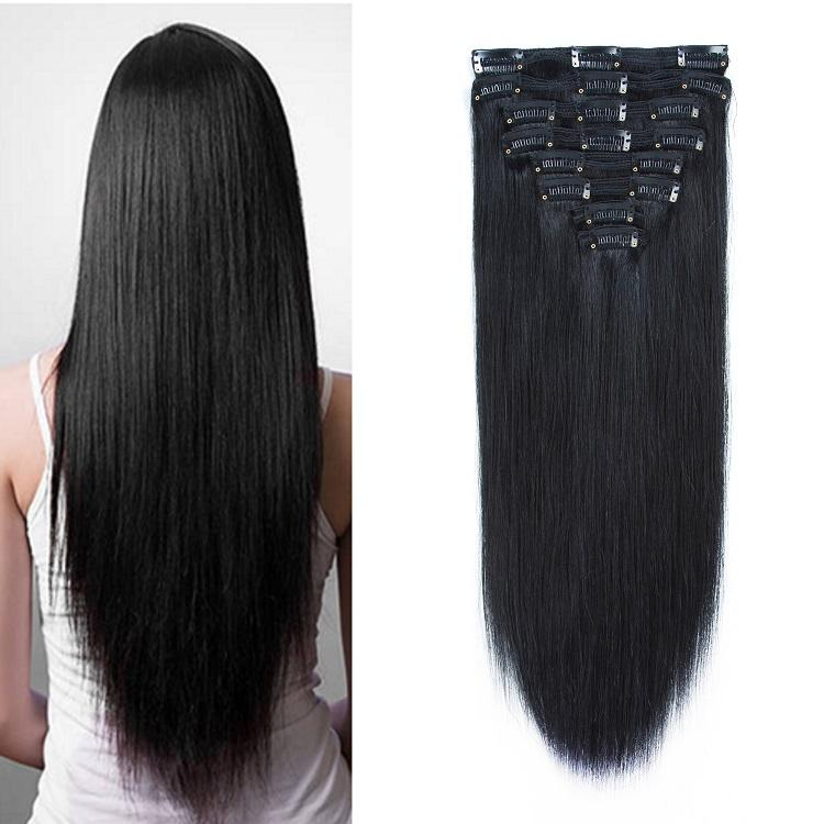100% natural virgin indian clip in human hair extensions for black women