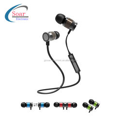 2018 hot selling Blue tooth Earphone Wireless Magnet Earbuds With Metallic Earphone housing