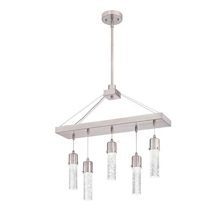Five-Light LED Indoor Chandelier Brushed Nickel Finish with Bubble Glass