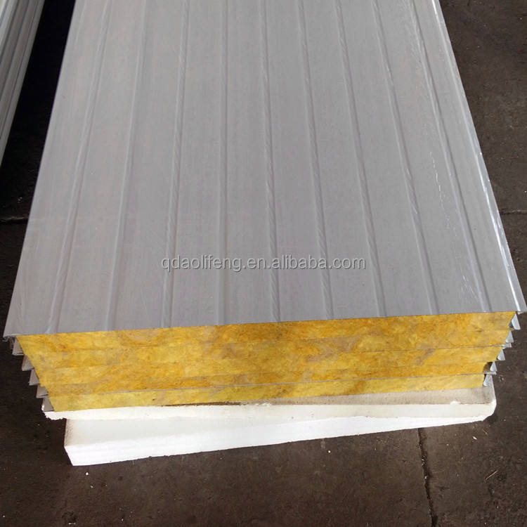 Easy install rock wool sandwich panel outside corrugated steel sheet panel
