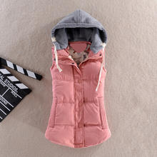 2018 autumn and winter new women's Korean version of the wild sports was thin candy color women's hooded cotton vest