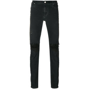 Black Cotton Blend Ripped Knee Jeans