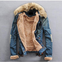 OEM men jeans denim jacket with fur collar