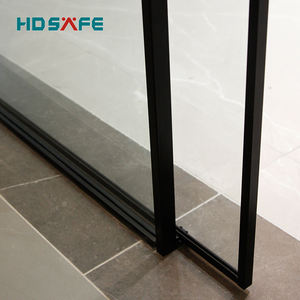 New design interior soft closing black aluminum narrow frame sliding Synchronous tempered glass door