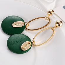 European style fashion green colored geometric wooden drop circle earring for girls