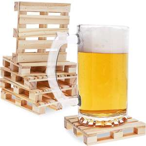 6 Pack Reusable Mini Wooden Pallet Beverage Drink Coasters