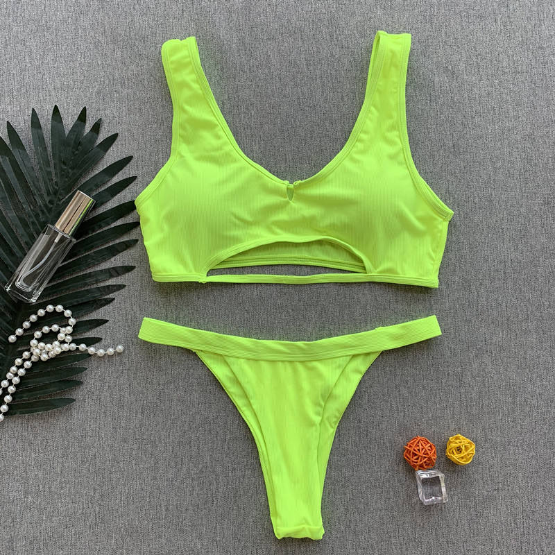 STOCK Two Colors Halter Swimwear Cut Out Textured Ribbed Brazilian Bikini