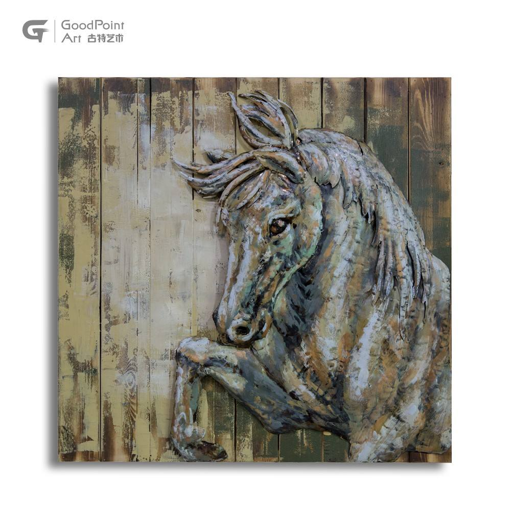 Oil painting seven wall arts 3d decoration wooden horse head sculpture