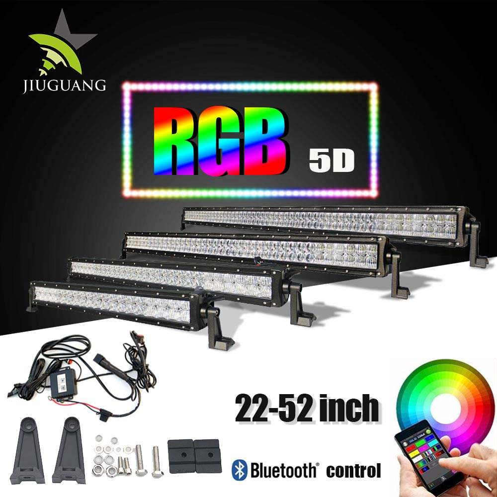Wholesale 22 32 42 52inch 5D Multi Color Combo Led Driving Light Offroad 4x4 Truck 120W Led Bar,12volt RGB Led Light Bar