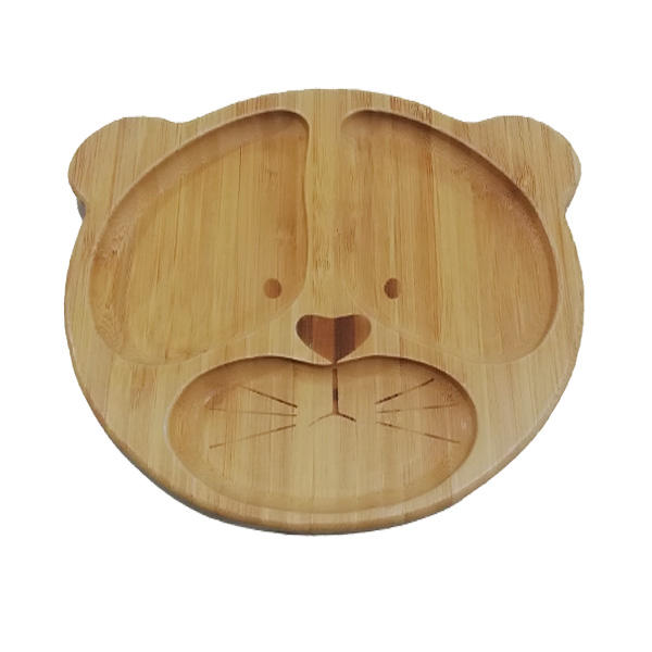 100%natural bamboo baby suction plate set tiger baby plates