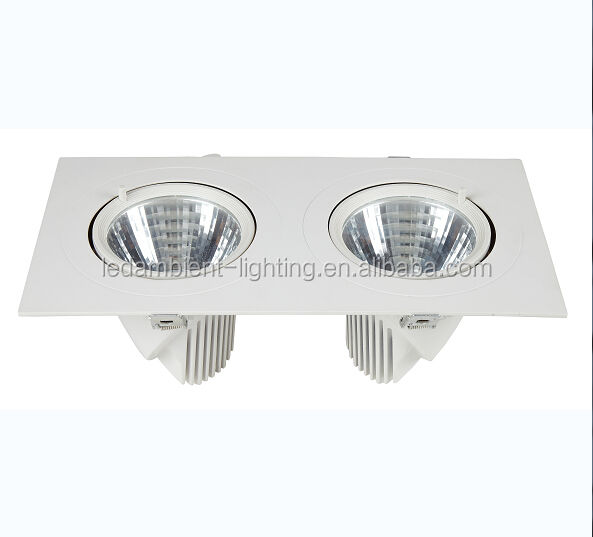 Double LED COB downlight 2x26w casing recessed clothing shop lighting 3000k