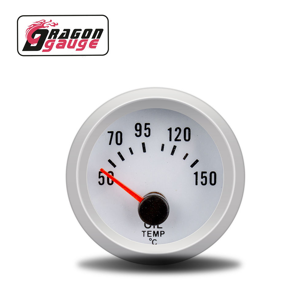 Dragon Gauge 52mm Silver shell Blue word car Refit oil temperature meter blue backlight Oil temp gauge for DO6035