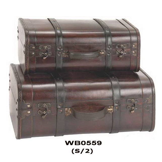 Store Display RETRO Antique Style Wooden Suitcase
