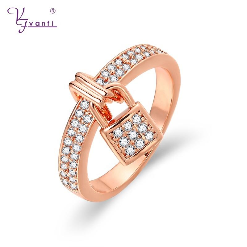 Vanfi Mode Locking Ring Vinger Ring Ontwerp Custom Vergulde Sieraden Zirconia Rose Gold Ringen
