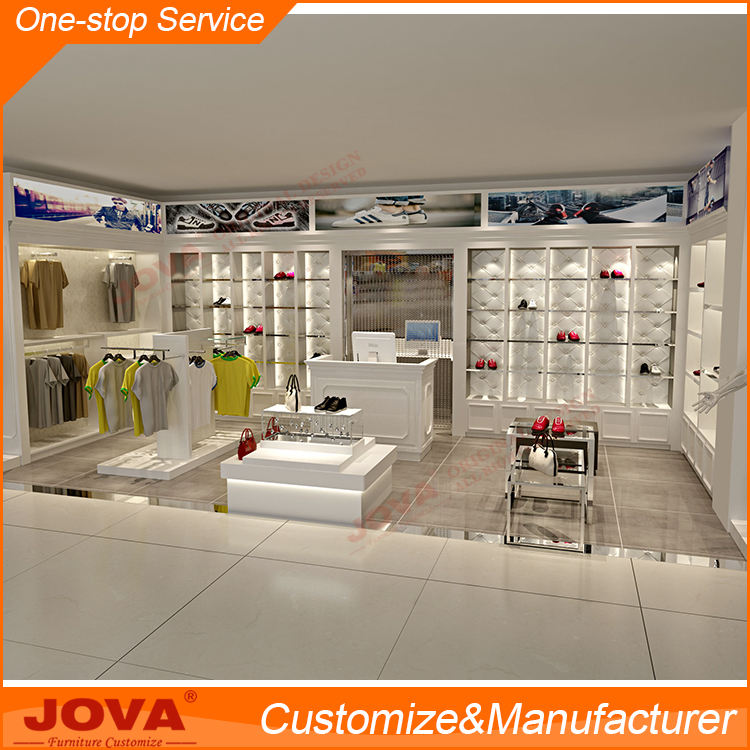 Customized kiosk mall garment shop interior design clothing showroom interior design for unisex clothing stores