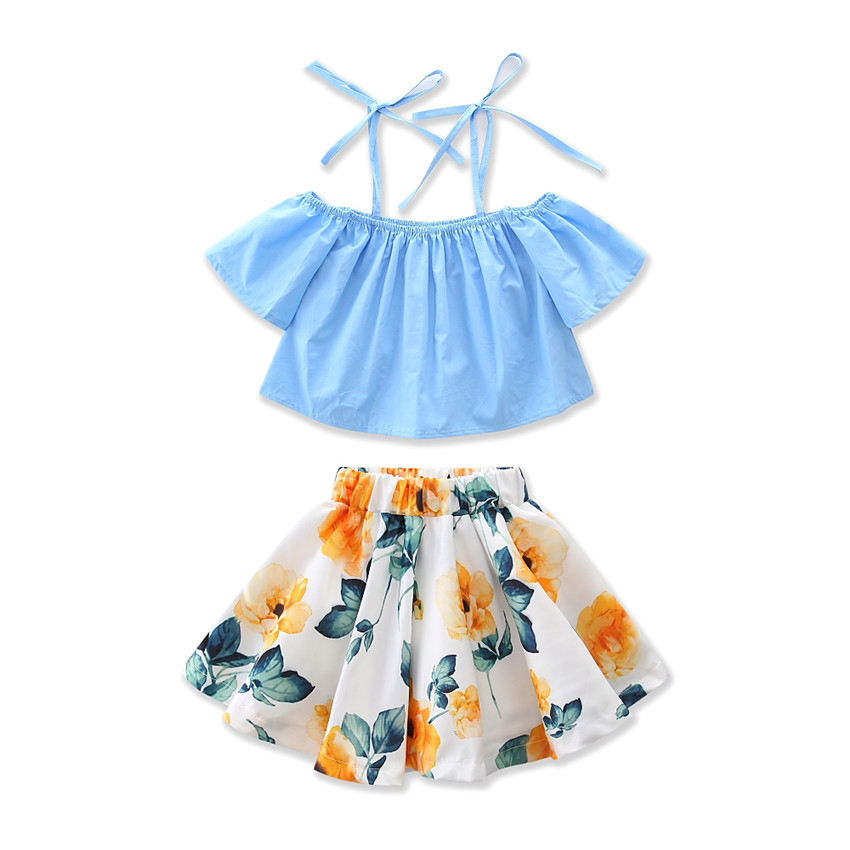 Girls Clothes Sets 2017 Costume for Girls Children Clothing Sets Outfits Suits Strap Blouse+Skirt Kids Clothes