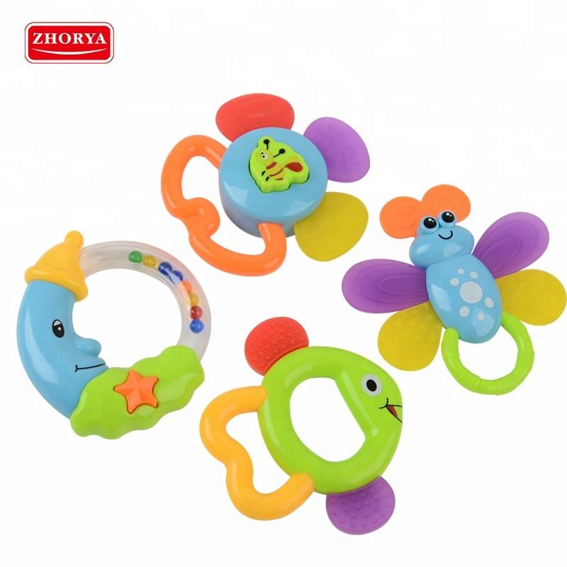 8 pcs baby shaking hand bell toy teether rattle set in one bottle
