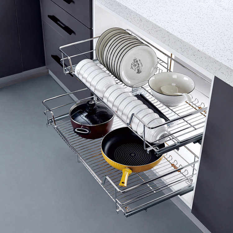 kitchen accessories Storage basket soft closing stainless steel multi-function drawer basket
