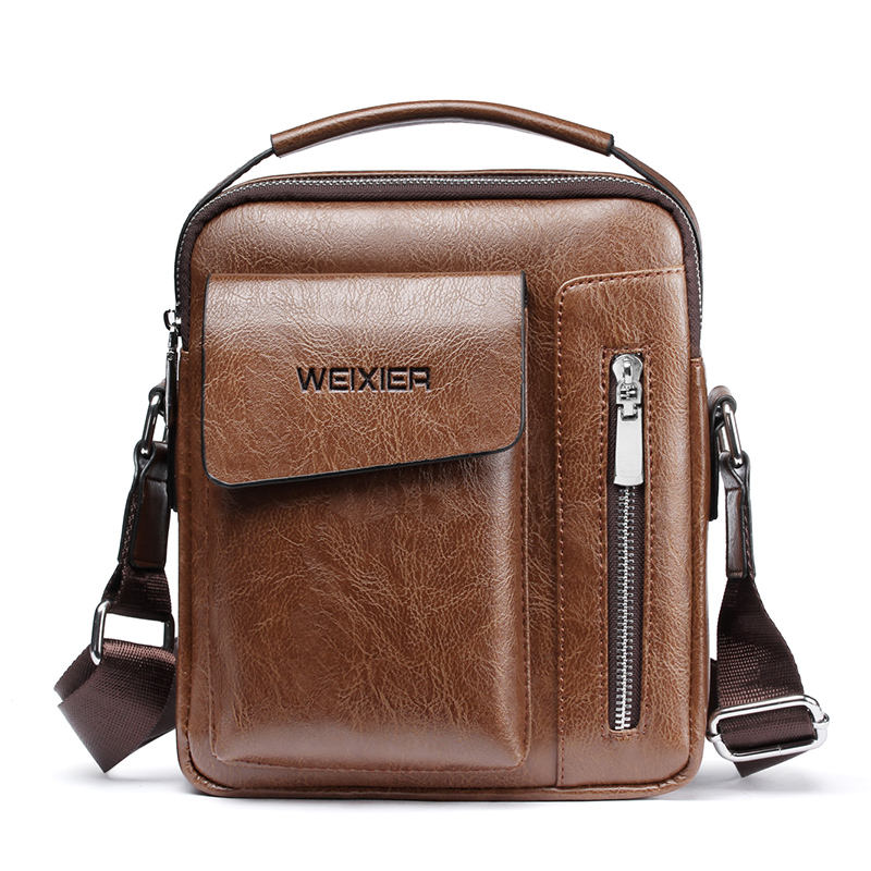Wholesale custom men vintage PU leather business single shoulder bag crossbody messenger bag