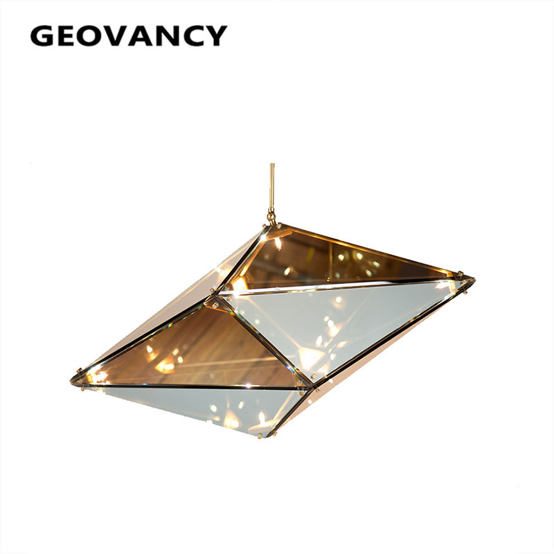 New mode metal glass G4 mirrored smoke glass designer chandelier