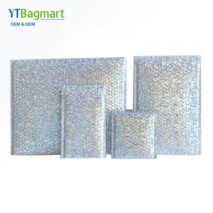 CUSTOM พิมพ์ Glamour Bubble Envelope Mailing Bags Rainbow METALLIC POLY Holographic Bubble Mailers