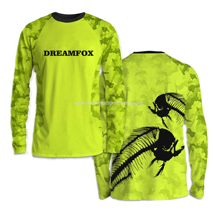 high quality long sleeve fishing shirt for sale custom performance fishing shirt for me UPF 50+ polyester sport fishing clothes