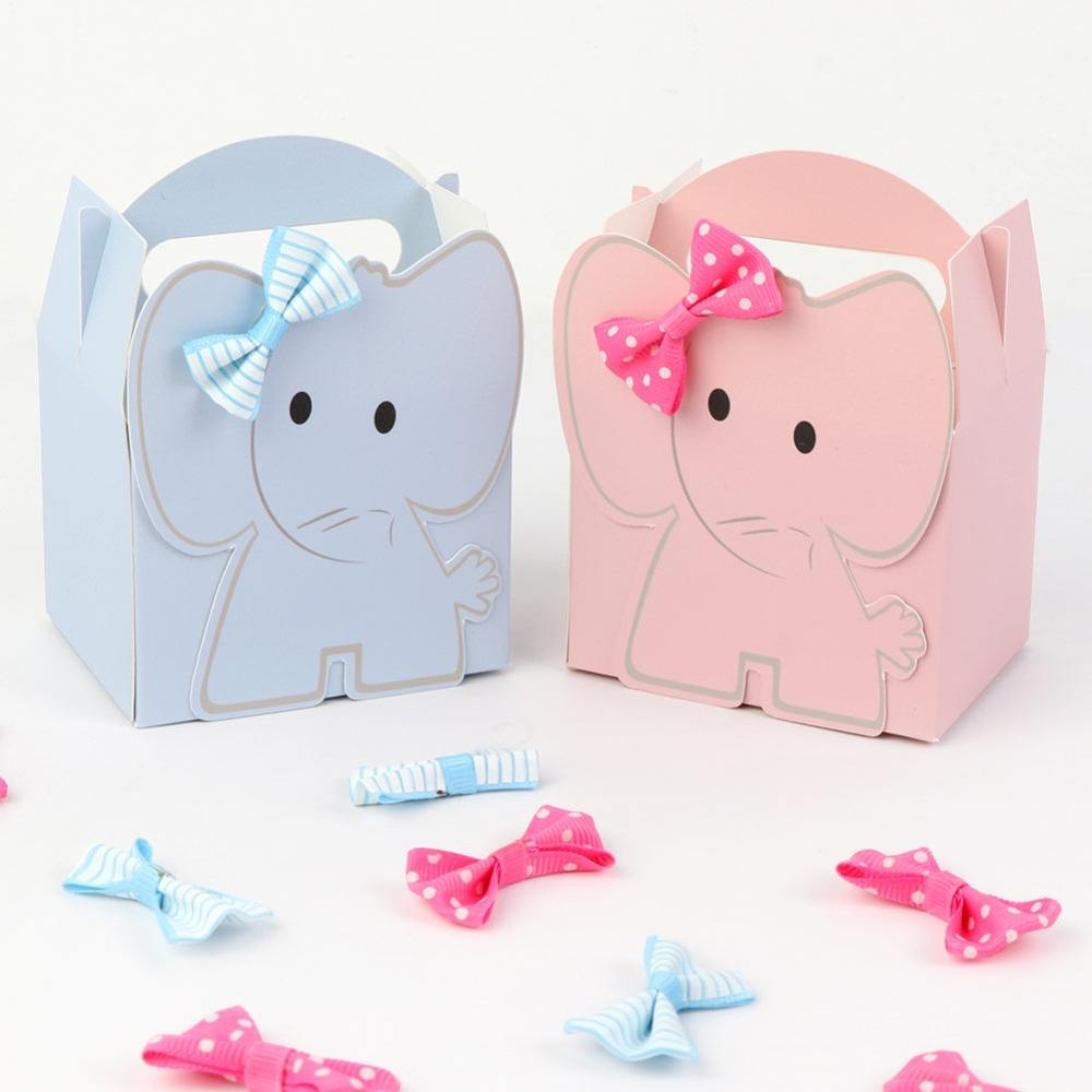 Cartoon Elephant Candy Box Blue Pink Kids Birthday Paper Sweet Candy Gift Box Kawaii Baby Shower Decor Boy Girl Favors