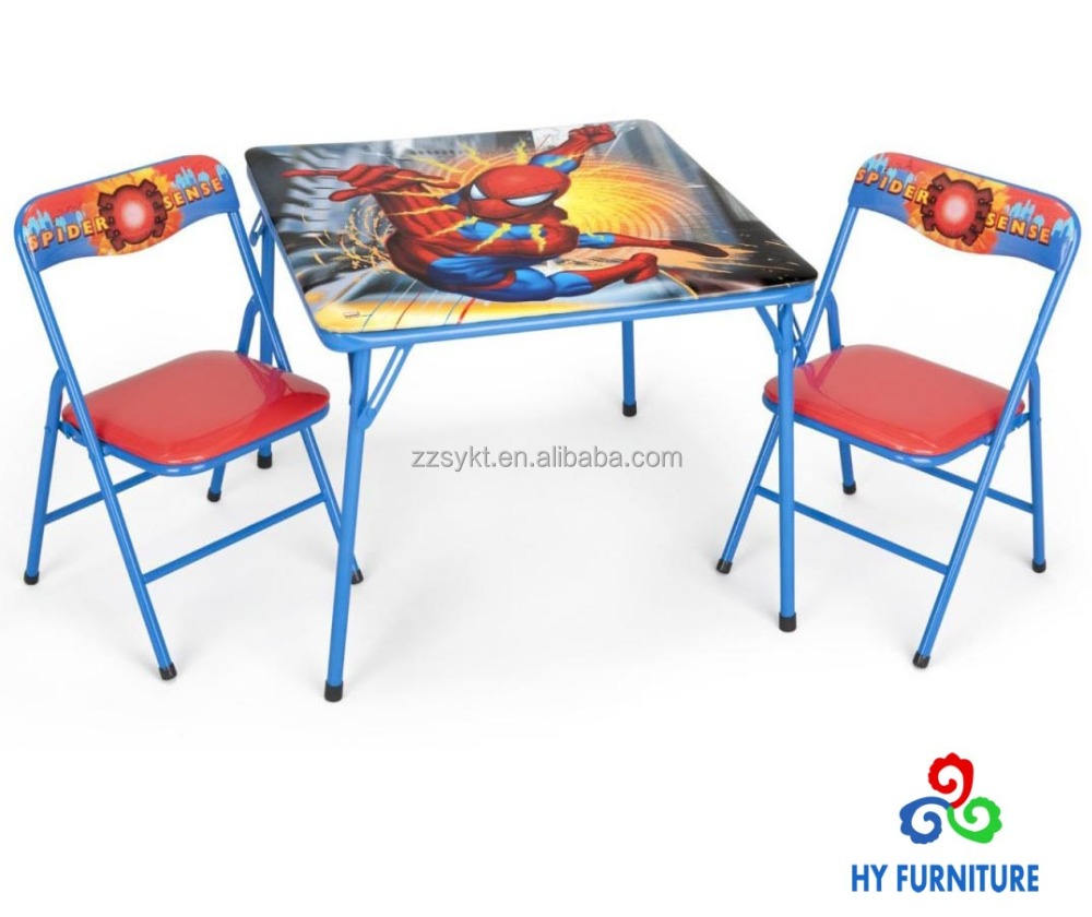 Small children size folding metal table and chairs with spider man printing