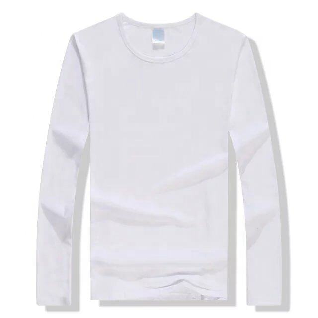 adult O-neck long Sleeve White polyester Sublimation T shirt Blanks Wholesale Advertising Custom Design t shirt