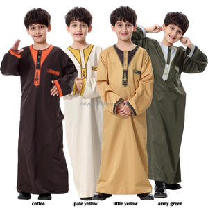 Beautiful embroidered lovely children islamic boy's abaya kids muslim clothing
