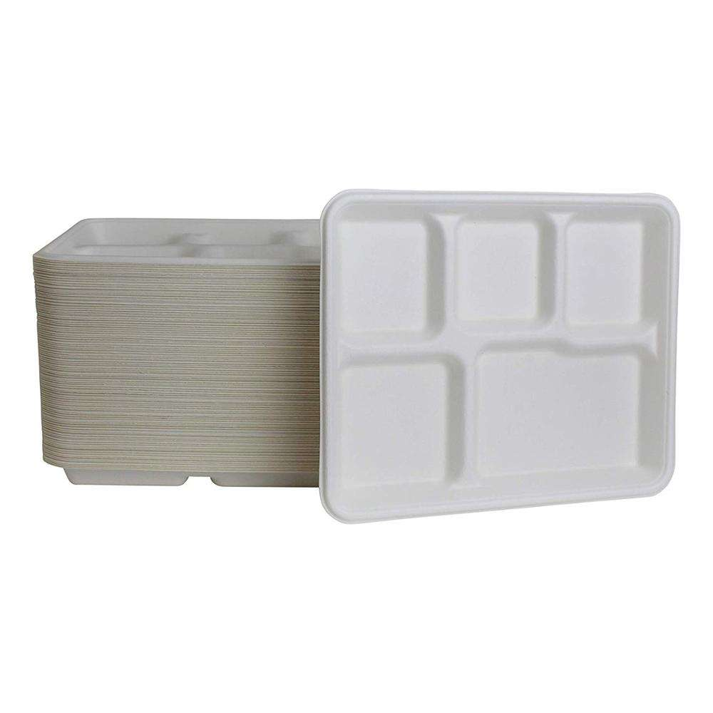 Disposable Biodegradable Plates with 5 Compartments Sugarcane Bagasse Dishes