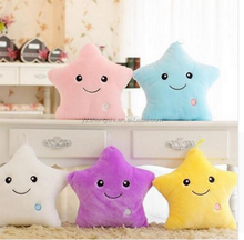 Free Sample 2018 Colorful Cute Pillow Christmas Toy Led Light Plush Pillow Stars Kids Dolls Stuffed Toys for Children