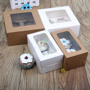white transparent cupcake packaging box 4 cavity with window