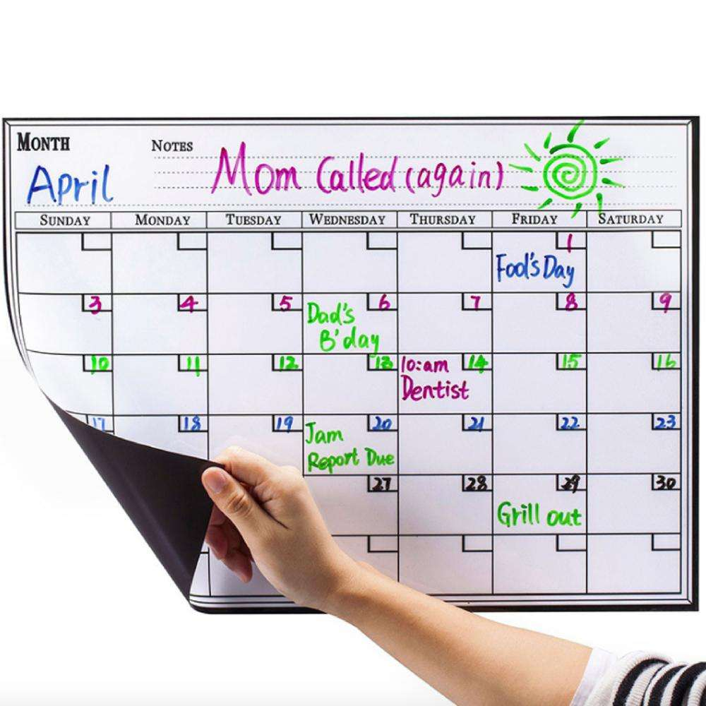Amazon home magnetic calendar planner board and pen , magnetic menu meal weekly monthly dry erase white board and marker