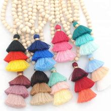 Bohemia custom wooden bead tassel necklace multi color long tassel necklace for women