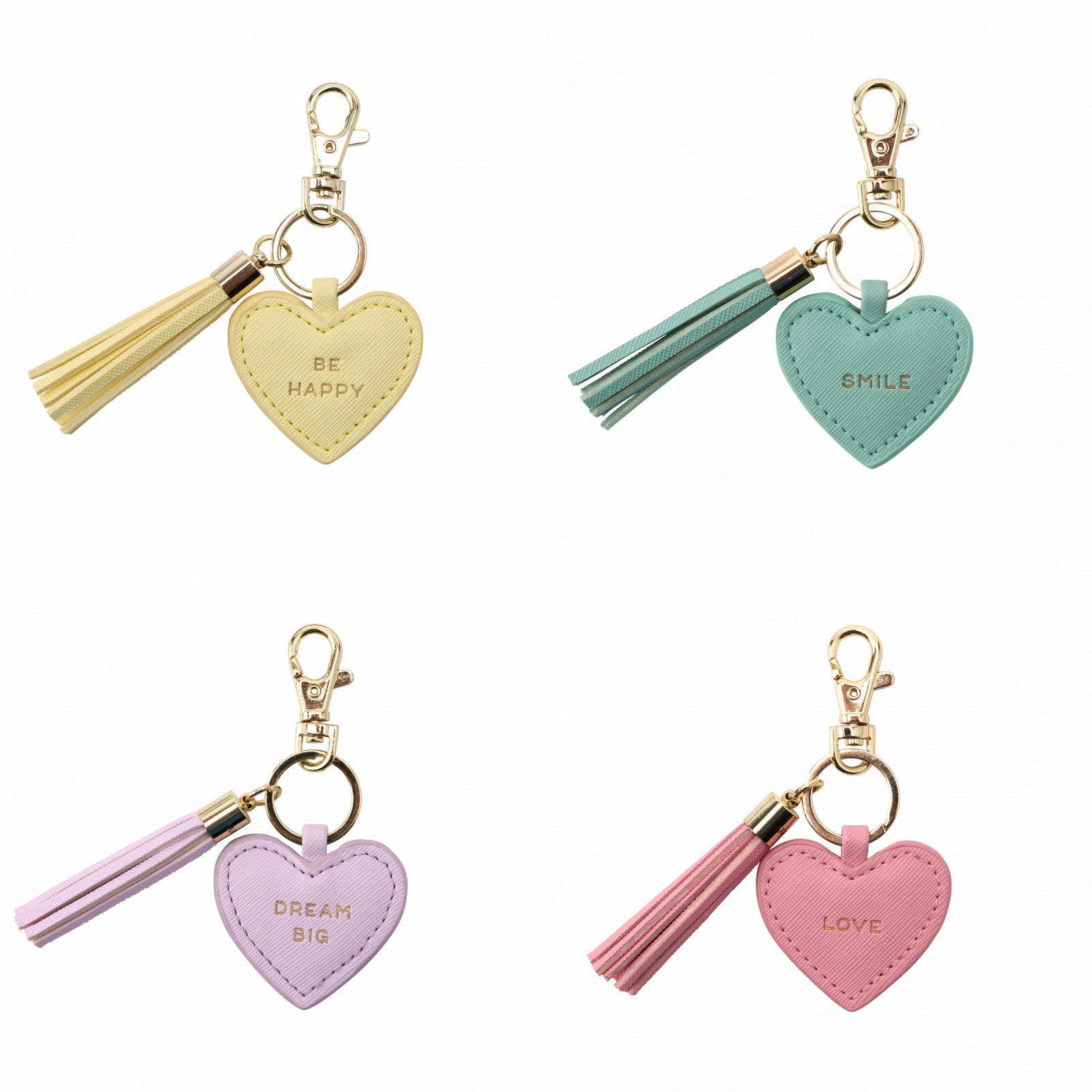 HEART KEYRING: LOVE, SMILE, BE HAPPY, DREAM BIG Keychain Handbag Charm Gift AD1861