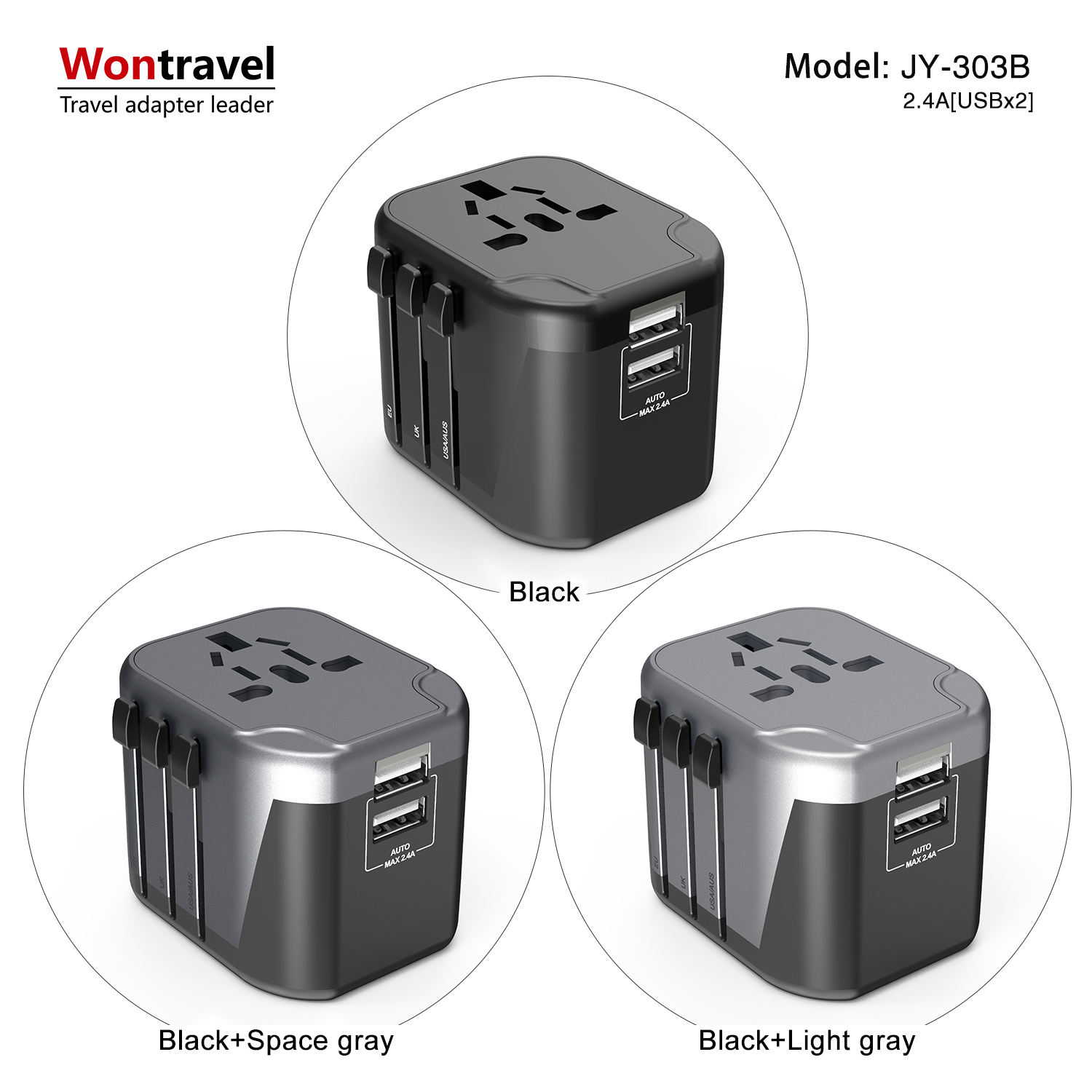 Aangepaste afdrukken logo relatiegeschenken Elektrische plug adapter world travel charger adapter