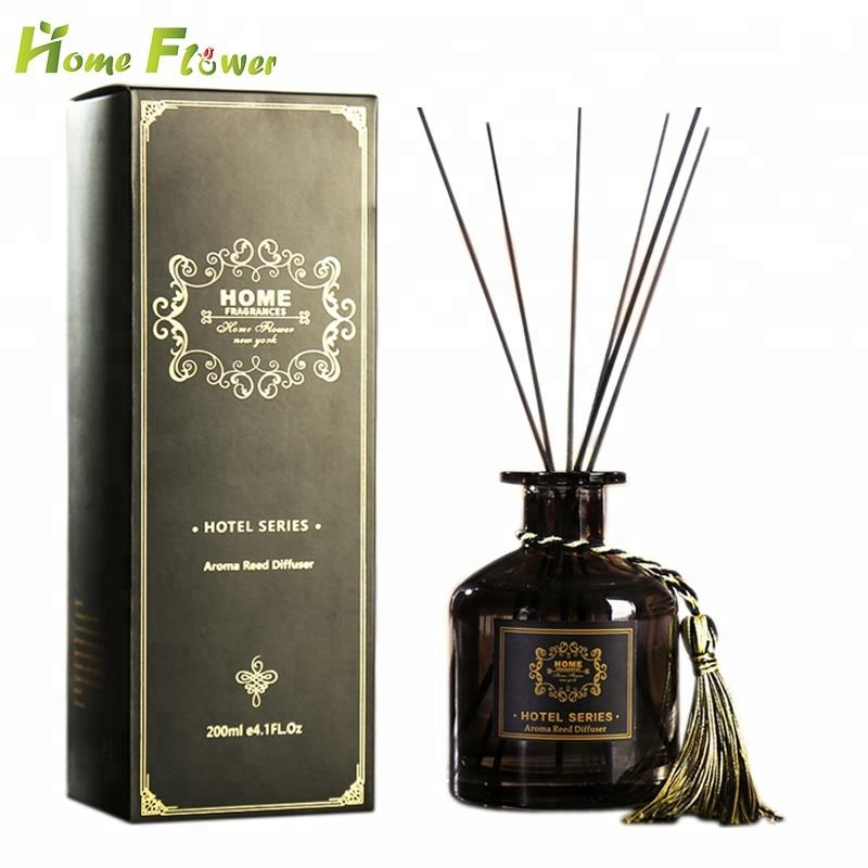 Decorative Amber Glass Bottle Home Fragrance Reed Diffuser