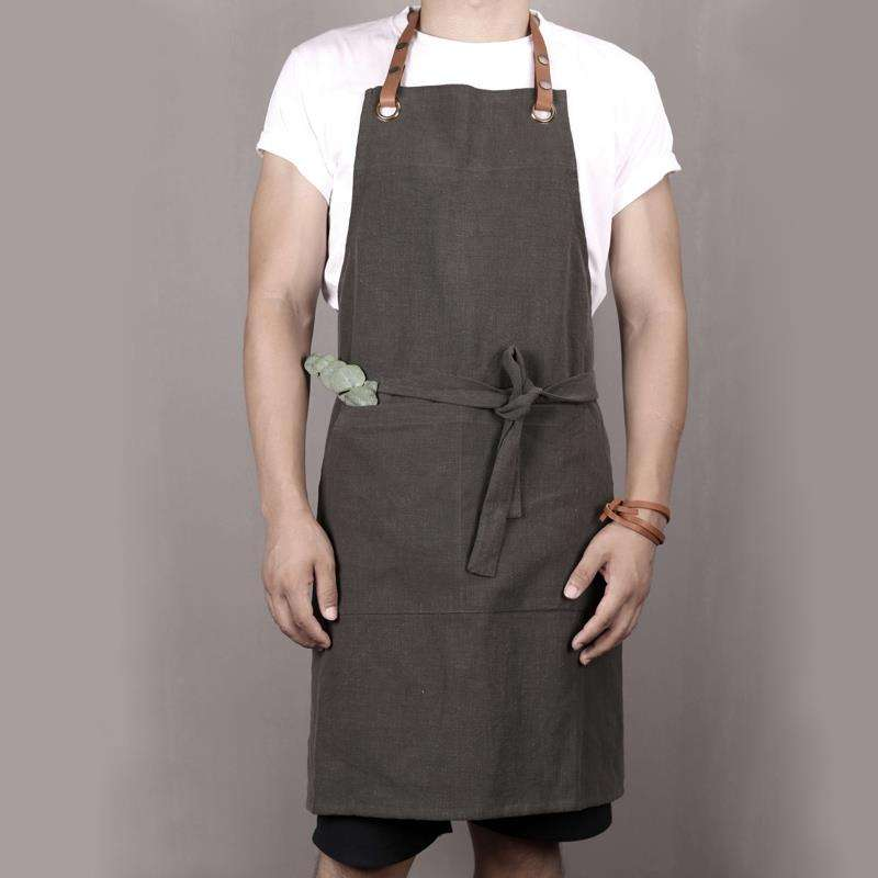 Dust proof polyester cotton women collar belt aprons