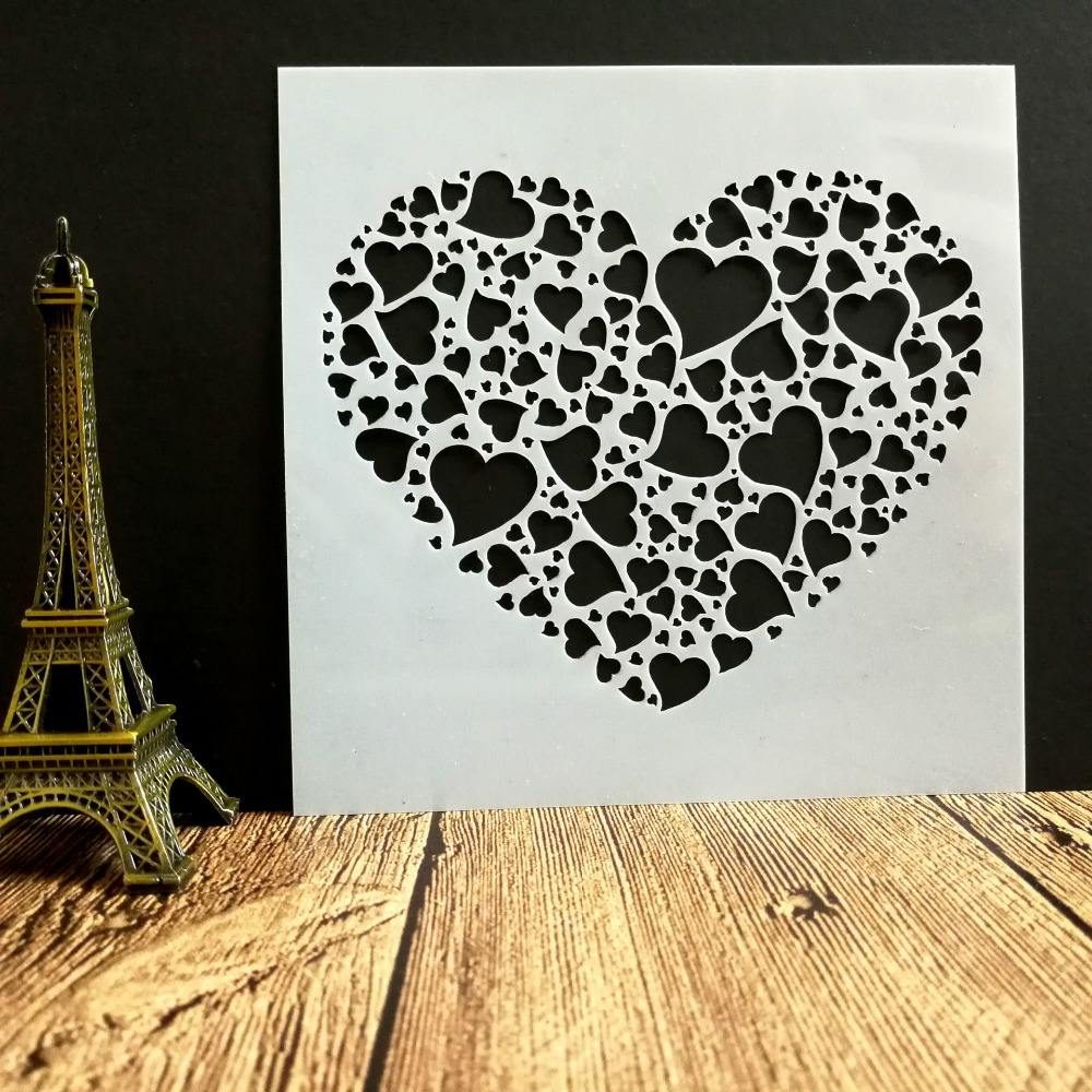 Marry heart Stencil Set, Drawing Template
