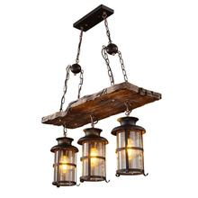 Rustic Metal industrial lighting retro Led Hanging lights indoor Decorative Vintage Pendant lamp wooden ceiling Chandelier