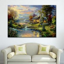 Thomas Kinkade Oil Paintings The Cottage Christmas Art posters and prints Giclee Art On Canvas Wall art for kids room