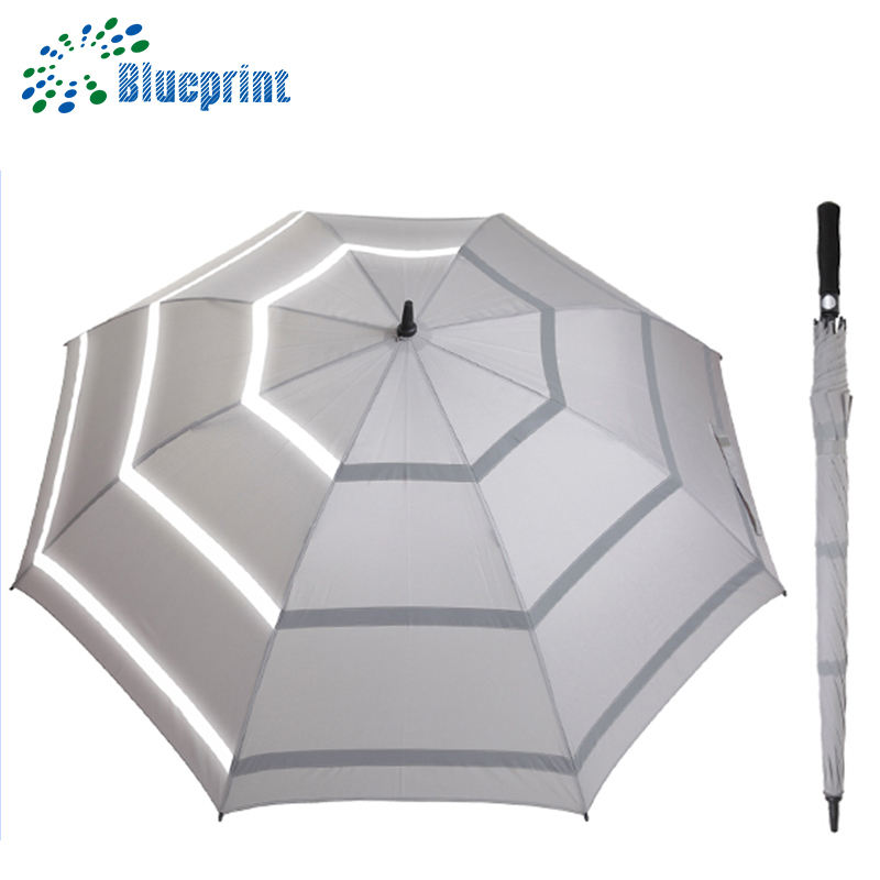 Sun/rain strong uv sun protective with reflective tape golf umbrella