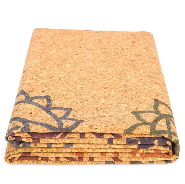 Wholesale rolls printed eco friendly cork yoga mat