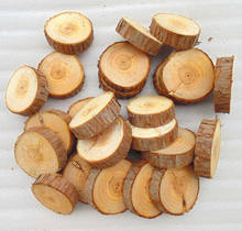 Natural round thin Fir handmade hanging wooden crafts Christmas tree decoration wood cut slices with bark
