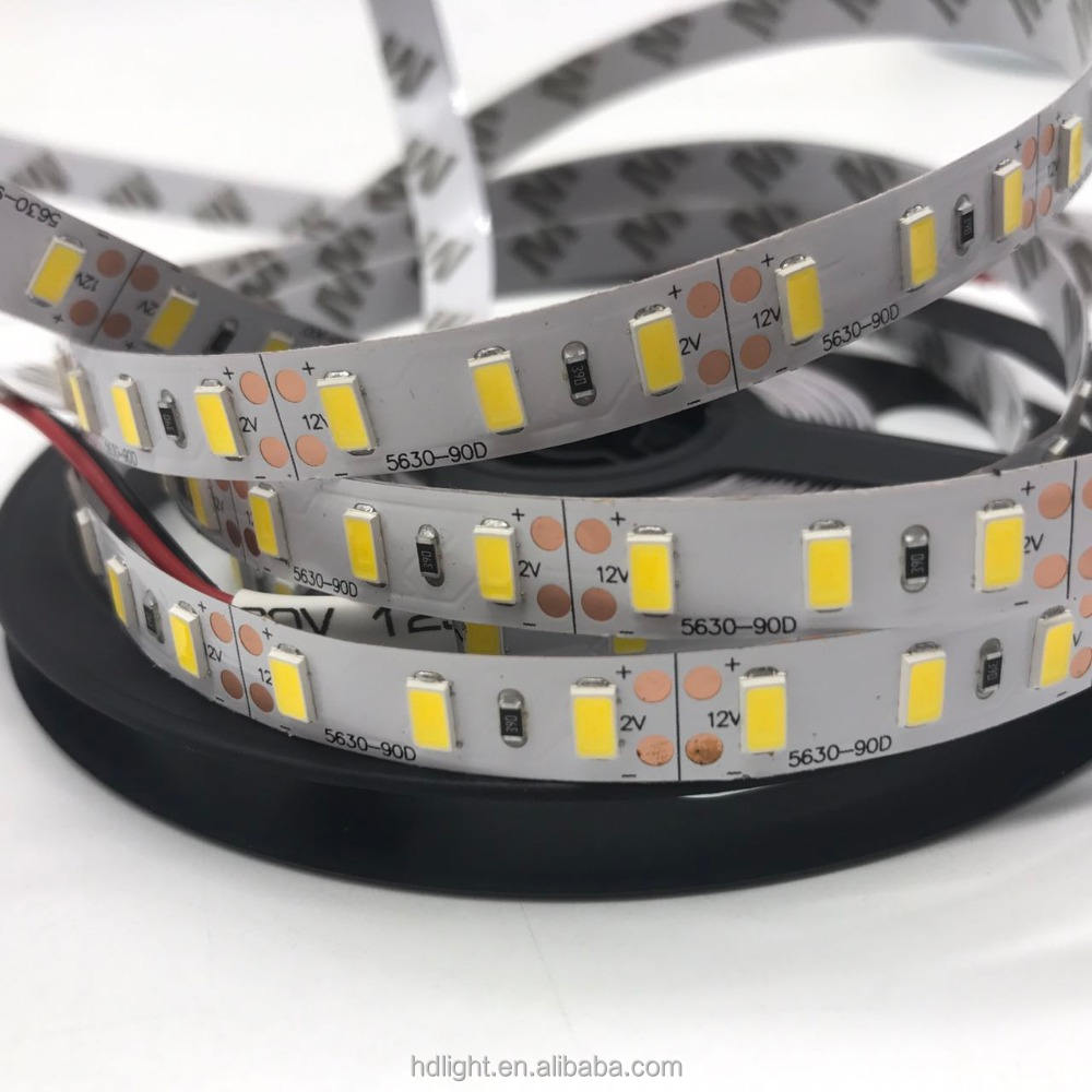 Bande lumineuse LED Flexible, SMD 5630, 60 diodes/m, 90 diodes/m, blanc froid/naturel, IP20, dc 12v