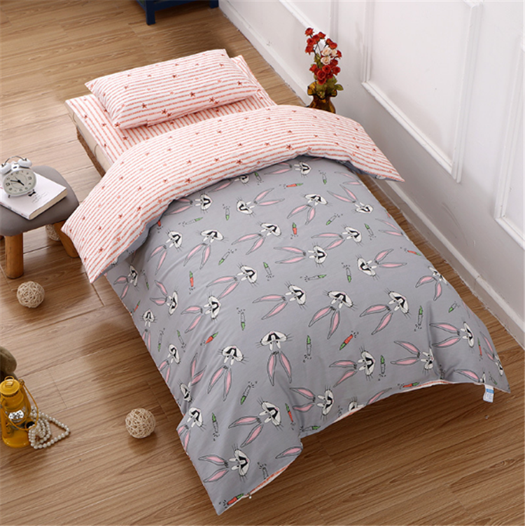 Wholesale high quality Kindergarten children nap stitching embroidery 100% cotton covered six pieces silk baby crib bedding set